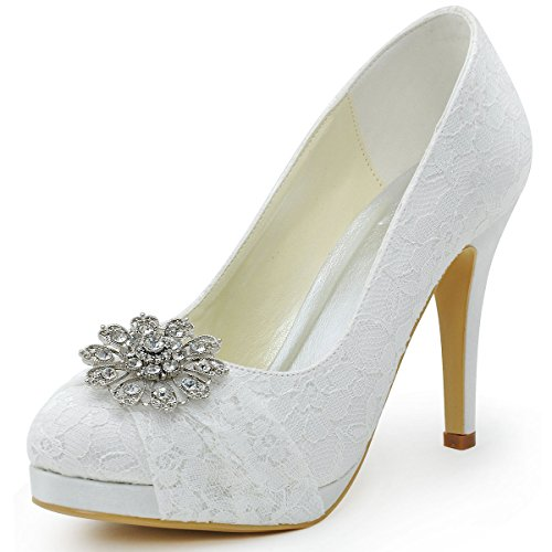 ElegantPark HC1413P Women Pumps Closed Toe Platform High Heel Buckle Lace Wedding Dress Shoes White US 4