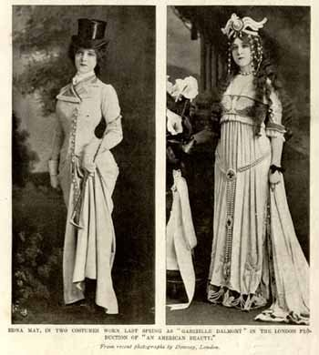 1900 book print image of actress Edna May in two stage costumes Original Paper Ephemera Authentic Vintage Print Magazine Ad / (Edna Costume)