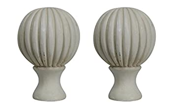 Urbanest Set of 2 Fluted Ball Lamp Finials, 2 1/8-inch Tall, Antique White