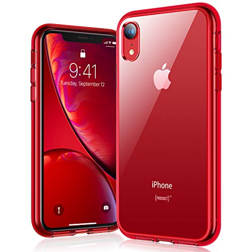 RANVOO iPhone XR case, iPhone XR Protective Clear Case [Certified Military Protection] [Agile Button] with Reinforced Red TPU Bumper and Transparent Hard PC Back Case Cover, Crystal Red Clear Red Phone Case