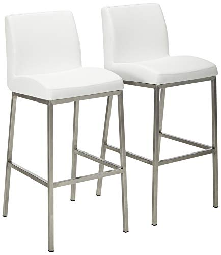 (Denise Austin Home 296617 October Bonded Leather Barstool (Set of 2) White)
