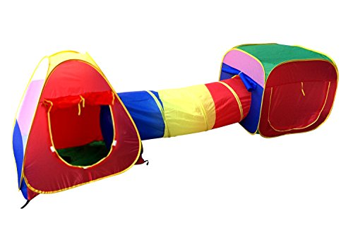 Adventure Pop Up Play Tent - Cubby-Tube-Teepee 3pc Pop-up Play Tent Children Tunnel Kids Adventure Station by POCO DIVO