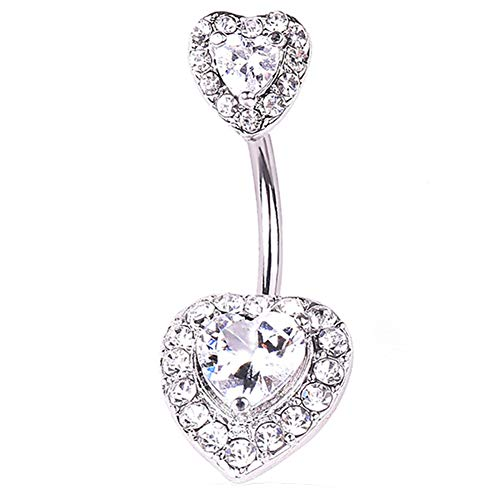 (Heart Shape Rhinestone Women Navel Bar Barbell Belly Button Ring Piercing Jewelry Gift)