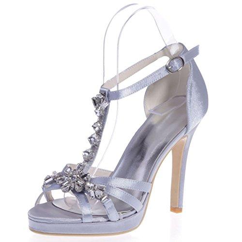 Silver Alto E Raso con Tacco Molla Matrimonio 11 Strass Cm Donna a Alto in con Fibbia Elobaby con per Tacco Tacco twRYqTP