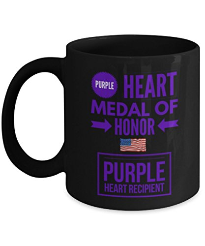 Medal Military Heart (Purple Heart Coffee Mug- Medal of Honor-Purple Heart Recipient Mug - Veterans Day- Military Personnel - Gift)