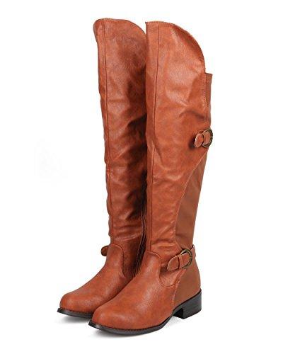 Liliana DB57 Women Leatherette Lycra Knee High Round Toe Motorcycle Boot - Cognac LYicVe