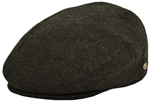 Classic Men's Flat Hat Wool Newsboy Herringbone Tweed Driving Cap (IV1935-Olive, Large)