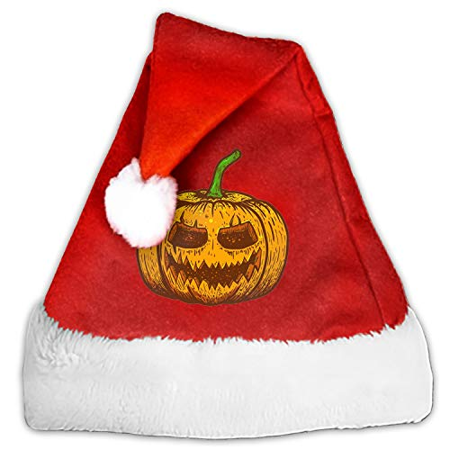 Luxury Christmas Santa Hat Halloween Scary Pumpkin Plush Adults' Santa Claus Xmas Cap Hat
