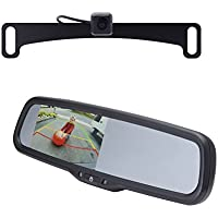 EchoMaster K104M License Plate Camera (Mounts Behind) (PCAM-10L-N) and a 4.3 inch Rear Camera Display Mirror (PMM-43-PL))