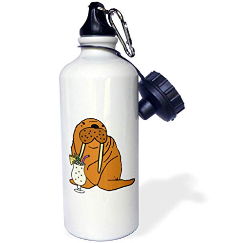 3dRose All Smiles Art - Drinking - Funny Cute Walrus Drinking Pina Colada Beach Cartoon - Flip Straw 21oz Water Bottle (wb_317000_2)