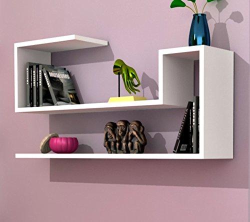 AIRY Wandregal - Bücherregal - Dekoregal - Hängeregal für Wohnzimmer in modernem Design (Weiß)