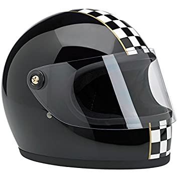 Casco Integral Biltwell Gringo S Las Checker Negro Full-Custom Biker Face Moto M negro