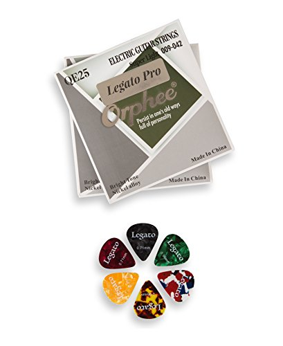 Legato Electric Guitar Strings Professional - (2 Sets) Nickel Alloy w/ 6 Guitar Picks (Super Light 09-42) Coated by Legato
