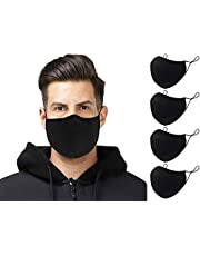 4 Pack Black Cotton Face Mask Washable Reusable Cloth Face Covering with Adjustable Strap Breathable Fashion Protective Mouth Covers Masks UK for Men Women