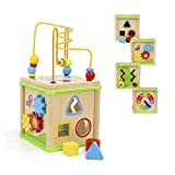TOP BRIGHT Educational Toy for One Year Old Boy and Girl Gifts Wooden Activity Cube with Shape Sorter Bead Maze Small...
