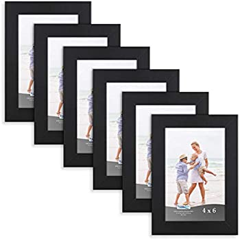 Icona Bay 4x6 Picture Frame (6 Pack, Black), Black Sturdy Wood Composite Photo Frame 4 x 6, Wall or Table Mount, Set of 6 Exclusives Collection