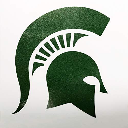 - Nudge Printing Michigan State MSU Spartans Metallic Green Spartan Helmet Head Car Window Decal Vinyl Bumper Sticker Laptop Sticker Auto Emblem Made in East Lansing, Michigan USA