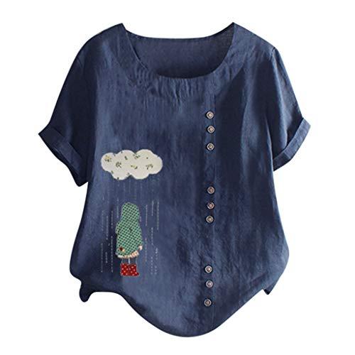 Londony❀♪ Women's Short Sleeve Cotton Linen Jacquard Blouses Top T-Shirt Linen Retro Chinese Frog Button Tops Blouse (Jordan Backless Shoes)