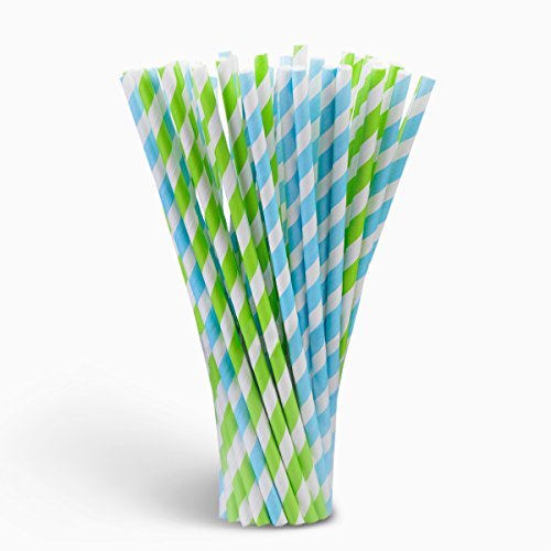 Paper Straws for Birthdays, Weddings, Christmas, Celebrations and Parties,100 Pieces (Blue and Green)