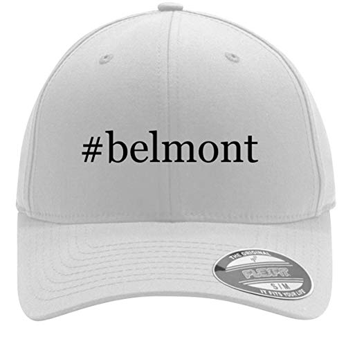 #Belmont - Adult Men's Hashtag Flexfit Baseball Hat Cap, White, Small/Medium