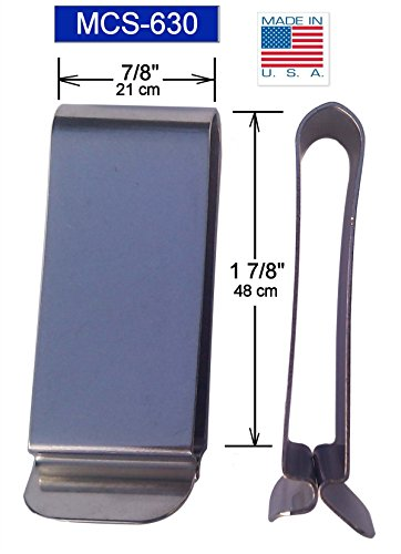 - THECLIP.COM Tempered stainless steel belt clip, MCS-630SS, great for holsters, pouches and knife sheaths.