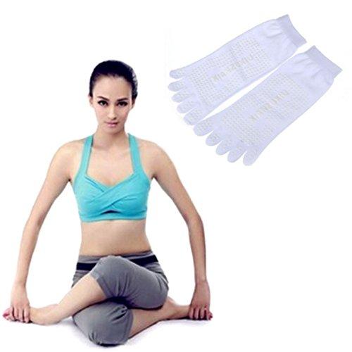 CreazyDog (TM) 5-Toe Non Slip Massage With Full Grip Exercise Yoga Gym Toe Socks (White)