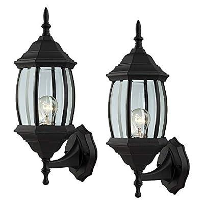Outdoor Exterior Wall Light Fixture Lantern Porch Patio Downlight/Uplight, 1 or 2 Pack