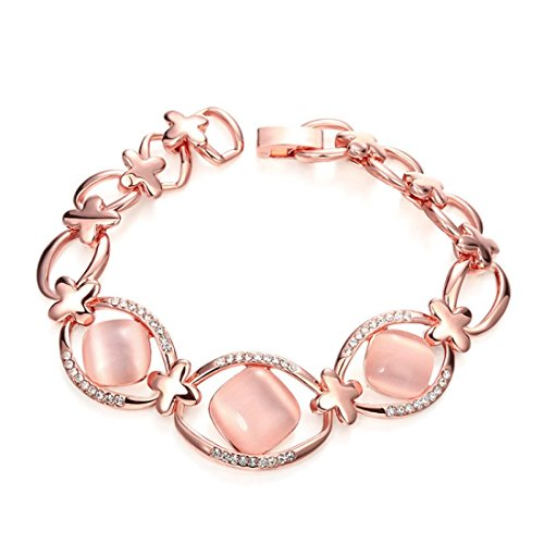 Women's Square Opal with Shining Crystals Rose Gold Plated Bracelet (model 1)