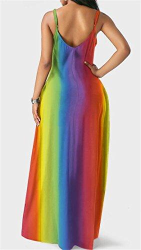 Femmes Domple Mode Sans Manches Boho Robe Maxi Arc-en-tie-teints Avec Des Poches Violet