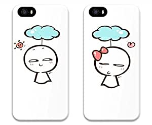 Brian114 Lovers iPhone 5s Case - Set of 2 Cute Love Dolls Boy And Girl Boyfriend and Girlfriend Couples Matching Cell Phone Cases for iphone 5 5S Case - Valentines Gift