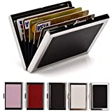 RFID Credit Card Holder Wallets for Women & Men Slim Stainless Steel and PU Leather Credit Card Protector for Holding Debit ATM Card