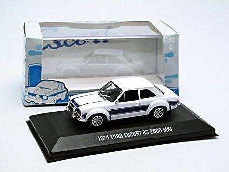 Ford Modelo 1: 43 Escort RS 2000 MK1 1974 Blanco con Rayas Azules: Amazon.es: Juguetes y juegos