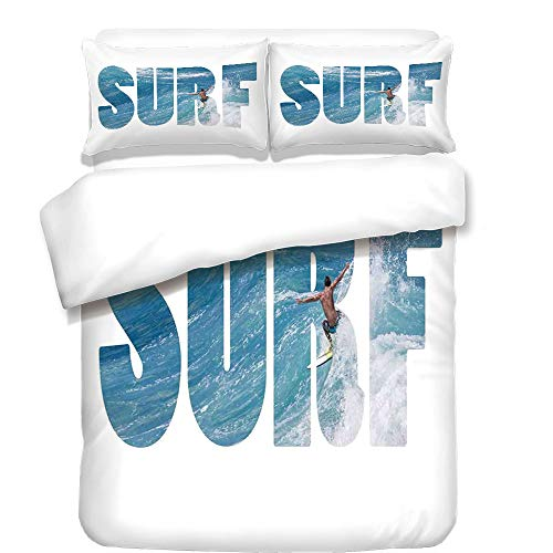iPrint Duvet Cover Set,Surf,Surfer Riding Giant Majestic Ocean Wave in Hawaii Adrenalin Epic Athlete Sea Pacific,Blue White,Best Bedding Gifts for Family Or Friends by iPrint