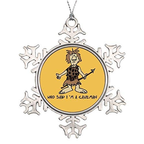 Liz66Ward Cartoon Caveman Snowflake Christmas Ornaments Pewter Novelty Funny Christmas Decorations for Tree for Home ()