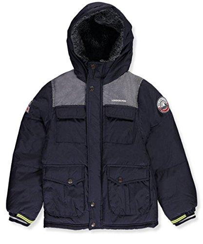 London Fog Baby Toddler Boys' Heavyweight Shirt Pocket Parka Coat, Navy, 2T