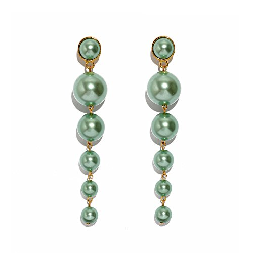MOOCHI Light Green Simulated Pearl Beads Long Dangle Trendy Earings Elegant String Statement Wedding Party Gift for Women