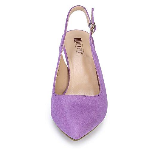 Pump IN3 Suede Dress Toe Women's Heel IDIFU Pointed Lavender Slingback Mid BSq5axg8w7