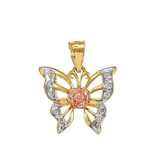 10k Tri-Tone Gold CZ-Studded Filigree Rose Butterfly Bracelet -