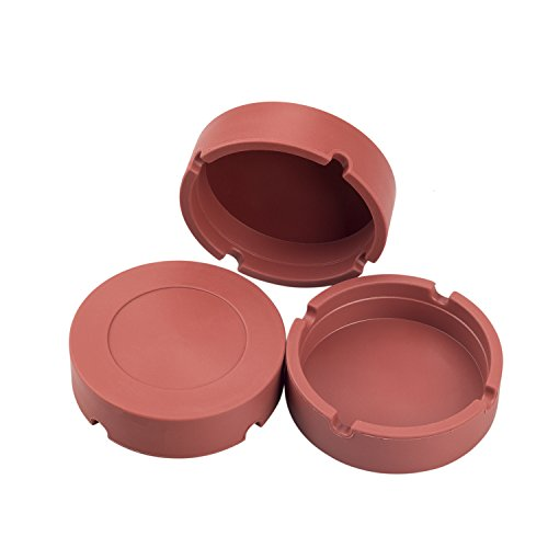 Silicone Personal ashtray/Portable Ashtray Premium Silicone Rubber High Temperature Heat Resistant Round Design Mini Ashtray (3pcs)Ash Tray for Home office Decoration (brown)