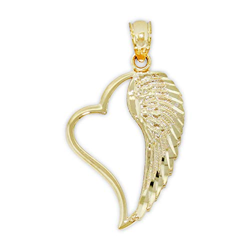 Charm America - Gold Angel Wing Inside Heart Charm - 14 Karat Solid Gold ()