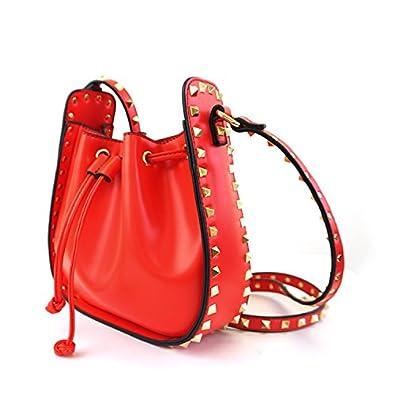 137635b38733 ... セレクト サイドスタッズショルダーバッグ レディース 鞄 カバン bag バック ポシェット 合皮 無地 マチ付 斜めがけ フェイクレザー レッド    ショルダーバッグ