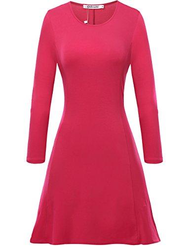 Aphratti Women's Long Sleeve Casual Slim Fit Crew Neck Dress Medium Purplish Red (Christmas Themed Dresses)