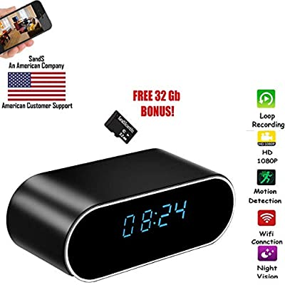 Nanny Spy Hidden Camera Clock SANDS SCIENTIFIC Free 32Gb Memory Loop Record Motion Activated IP Camera from SandS Solutions
