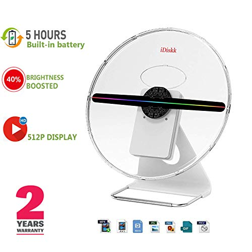 Factory Original 30CM or 12 INCH 3D Hologram Fan Holographic Logo Display Projector,IDISKK ORIGINALDESIGNED Photo and 512P HD Video Advertising Projector Fan for Shops Office Home
