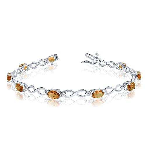 (2.79 Carat (ctw) 10k White Gold Oval Yellow Citrine and Diamond Infinity Tennis Bracelet - 7