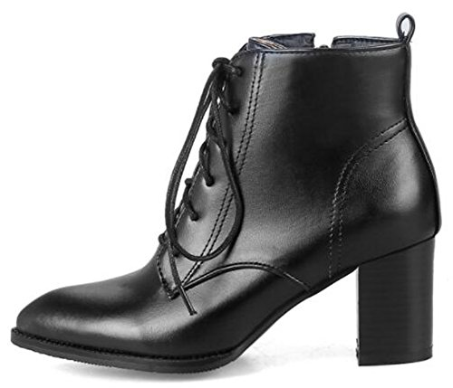 Lace Mid Black Heels Chunky Ankle Zipper Women's Martin Trendy Boots IDIFU Up Pointy EwqUYFF