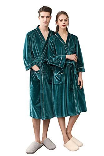 Vestido terciopelo Pijamas de invierno Mujer Hombre dormitorio Conjunto c Aibayleef de Ropa Albornoz Albornoz de Xxptwnzq