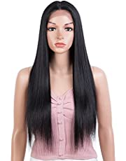 """Joedir 26"""" Long Straight Lace Front with 1.5""""x6"""" Deep Parting Lace Wig Heat Resistant Synthetic Hair Wig with Baby Hair For Black Women 130% Density(Black Color)"""