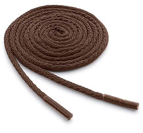 OrthoStep Waxed Very Thin Dress Round Light Brown 24 inch Shoelaces 2 Pair Pack