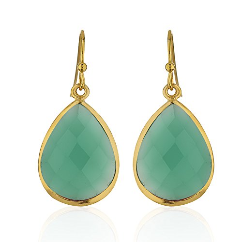 18K Gold-Plated Rims Pear Shape Green Onyx Gemstone Dangle Earrings (Green Onyx Earrings)